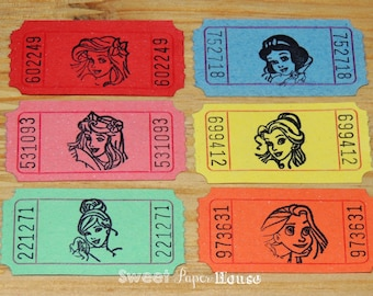100 Disney Princess Carnival Tickets (Hand Stamped, Princess Party, Birthday Decorations, Auction, Raffle, VIP, Save the Date, Admit One)