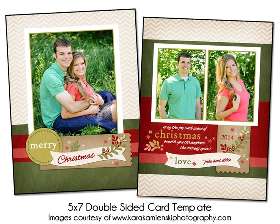 christmas card template christmas berries 5x7 double sided. Black Bedroom Furniture Sets. Home Design Ideas