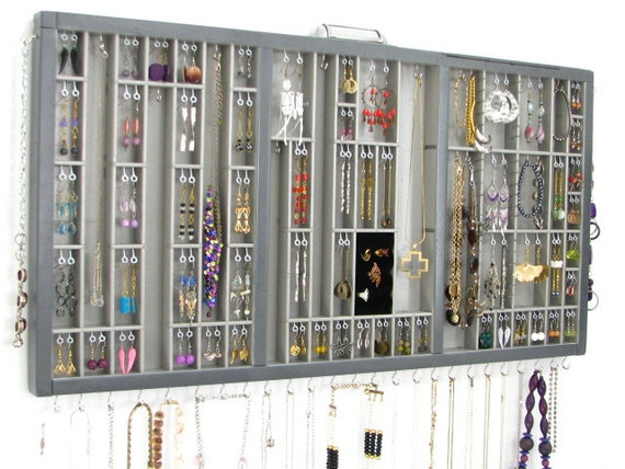 Wall Jewelry Display Case, Jewelry Organizer Large Grey