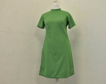 60s Vintage Bright Green Scooter Mod Shift Dress size XL