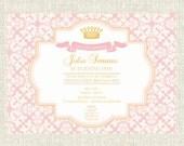 Princess Birthday Party Invitation, Pink Princess Invite, Pink Damask Invitation, Princess Party Invitation