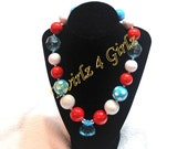 Just a little Seuss - Chunky bead necklace with jewel pendant