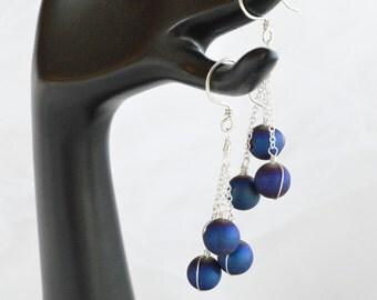 Blue Titanium Druzy Quartz and Sterling Silver Three Drop Dangle Earrings