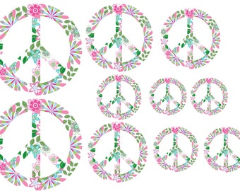 peace sign decal set of 10 vinyl wall art decal