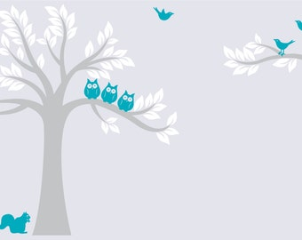 Children's tree decal- Owl tree- Nursery wall decal- Owl tree- Vinyl wall decal