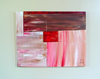 LARGE Original Abstract Painting--Color Blocked Wall Decor, Home Decor, Modern Office Decor in Pinks, Creams, Browns, Gold