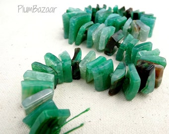 Fire agate beads,16 inch graduated strand, unusual flat shape with center hole, minty green
