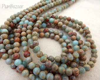 "African opal impression jasper beads, 6mm round,  16"" strand, gorgeous fall colors"