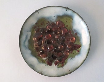 Mid Century Modern Eames Era Enameled Copper Plate with Glass Accents 1960s Includes Wall Hanger