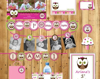 Owl Birthday Party Package Girl or Boy Look Whoos turning 1 Owl - Invite, thank you tags, 3 banners, water bottle labels - (DIY Printable)