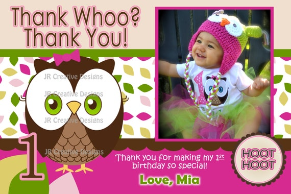 Owl Thank You Look Whoos Turning one Thank You - OWL Theme - Owl Birthday Party 1st Birthday Girl Owl Thank You - Look Who's 1 Thank You