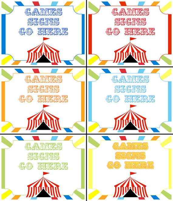 Carnival Yard Signs Circus Birthday Party By JRCreativeDesigns