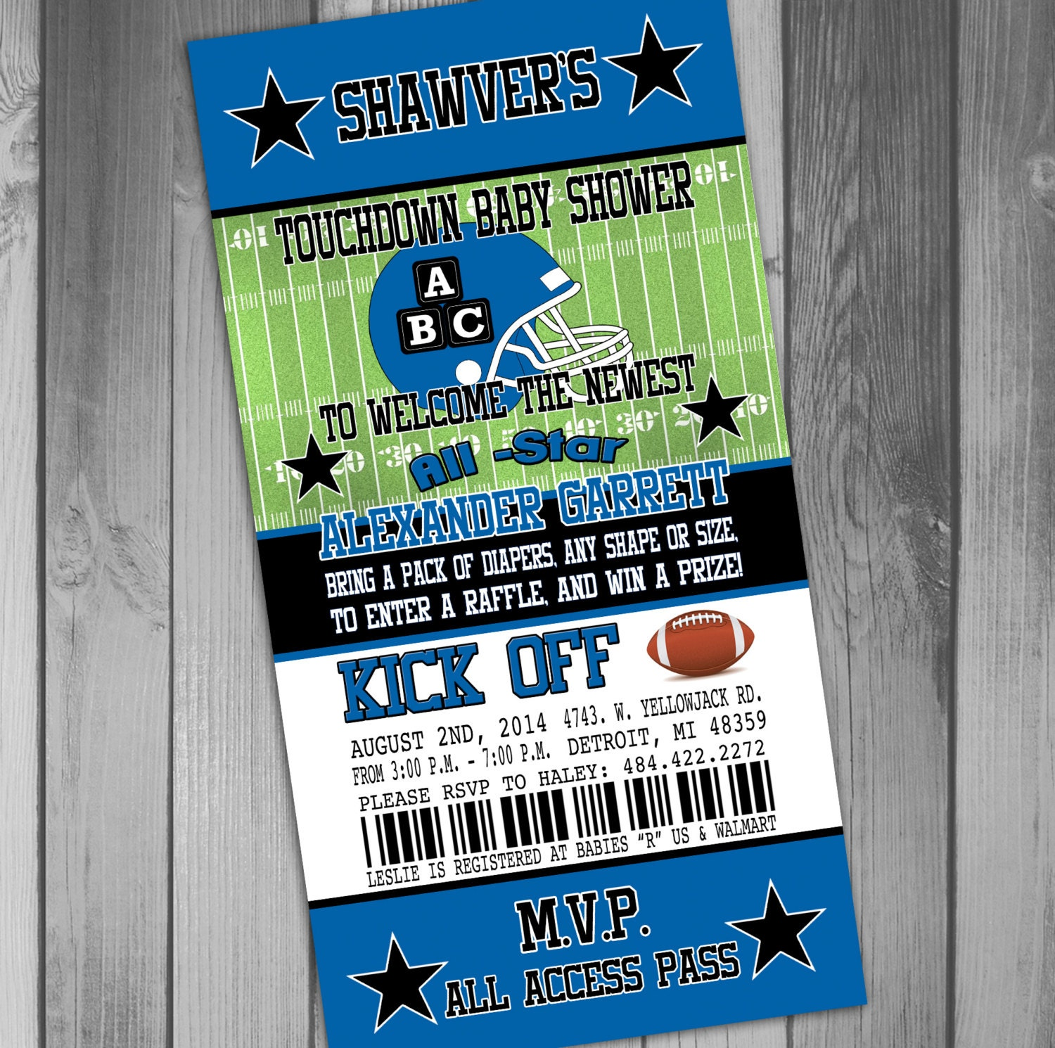 Printable Birthday Party Invitation Card Detroit Lions: Unavailable Listing On Etsy
