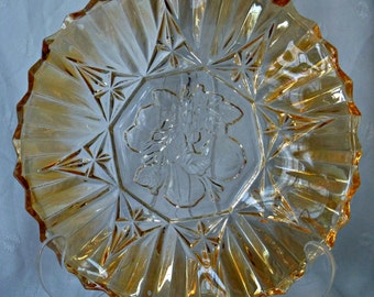 Federal Glass Co Iridescent Amber Fluted Intaglio Fruit Pioneer Pattern Candy Dish
