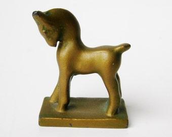 Vintage Art Deco Miniature Bronze Horse Sculpture Figurine