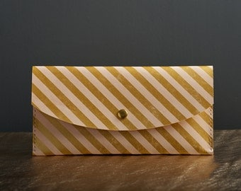 Gold Stripe Leather Clutch