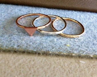 Stack Ring Trio MULTI COLOR Simple Textured/ Wear Together or Separately