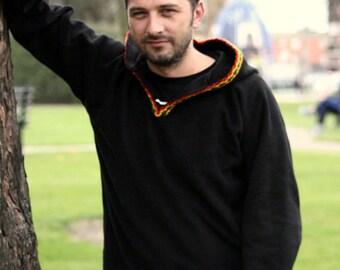 Medieval Pixie hoodie Black hippie elven hoodie Psy SCA festival rave hoodie - Gothic hoodie Rasta hoodie