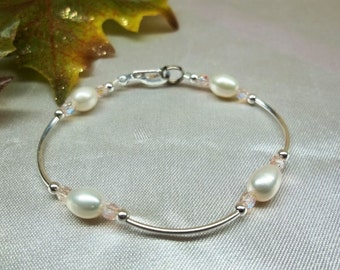 Girls Bracelet White Pearl Bracelet Pink Crystal Bracelet Girls Valentine Gift Adjustable Bracelet Sterling Silver or Plate BuyAny3+Get1Free