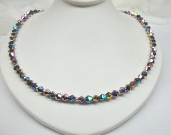 Black Necklace Crystal Necklace Mystic Rainbow Necklace Adjustable Black Crystal Necklace 925 Sterling Silver Necklace BuyAny3+Get1 Free