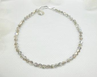 Faith Jewelry Silver Cross Ankle Bracelet Crystal Anklet Silver Cross Anklet Gray Crystal Ankle Bracelet Sterling Silver BuyAny3+1Free