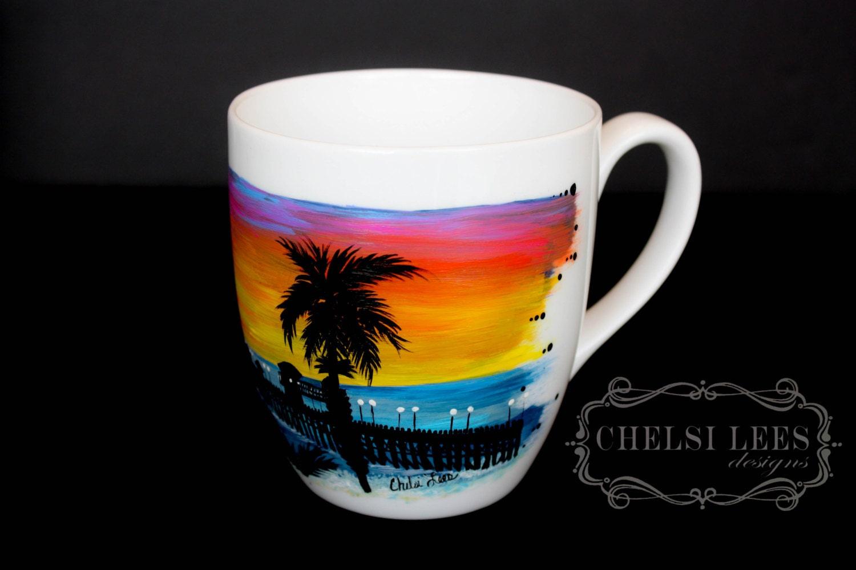 Oceanside Pier California Coffee Mug Hand Painted Quantity