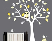 White tree vinyl wall decal yellow and grey owl decal pattern leaves - 0004