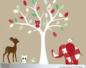 Childrens wall decal - white tree wall decal - white, red, green - patterned vinyl wall art - 0421