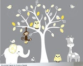 Vinyl wall decal - nursery white tree wall decal - patterned yellows and grays - 0061