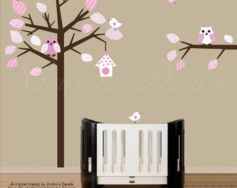 Children wall decal pink patterned nursery tree wall decal with owls and birds - 0133