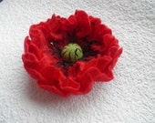 Red Poppy brooch , red , Wool Flowers Felted Brooch, red Wedding , gift idea for her ,  under 25