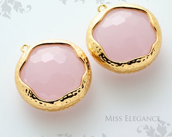 SALE 2pcs Pink Opal Round Framed Faceted Glass Stone Pendants, Gold Plated Over Brass Unique Jewelry Findings  //20mm x 20mm// GSL-0041-BG