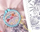 Sugar Skull  Embroidery Pattern Sampler Pdf instant download
