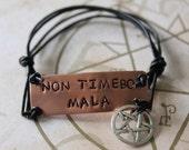 Supernatural Inspired Handstamped Bracelet - Non Timebo Mala