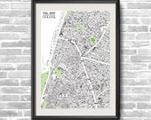 Tel Aviv handmade drawing map - 50X70