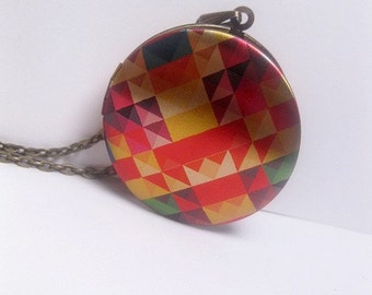 Colorful Geometric Pattern Locket Necklace- Checkered - Image - Rainbow - Multi Color - Triangle - Plaid