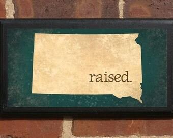 South Dakota SD RAISED Vintage Style Plaque Sign Decorative & Custom Color Home Decor Wall Art Gift Present