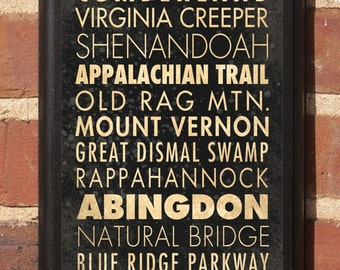 Virginia VA Destinations Wall Art Sign Plaque Gift Present Home Decor Vintage Style richmond roanoke blacksburg Blue Ridge Abington Classic