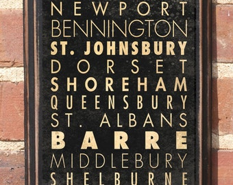 Vermont VT Cities Wall Art Sign Plaque Gift Present Home Decor Custom Personalized Color Burlington Barre New Port Rutland Antique