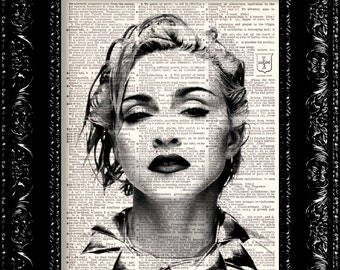 sale, Madonna - Music Icon, Dictionary Book Print Upcycled Book Art Upcycled Vintage Book Print Antique Dictionary Buy 2 Get 1 FREE