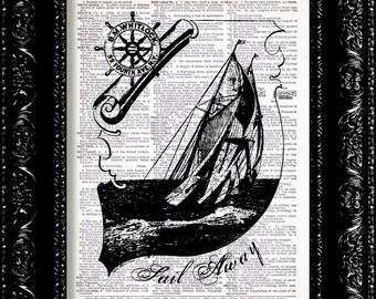 Seven Seas Sailboat Vintage Dictionary Print Vintage Book Print Page Art Upcycled Vintage Book Art