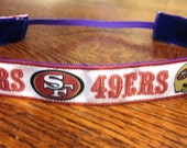 NOODLE HUGGER Non slip ribbon headband - San Francisco 49ers - 7/8 inch (running, working out, everyday: women and girls)
