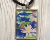"Tranquility In Watercolor -1""x1.5"" Art Pendant by Patricia Robin Woodruff"