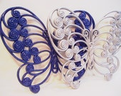 Vintage Upycled Large Butterflies Wall Decor  Blue and Silver