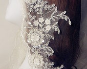 ivory beaded lace trim,alencon embroidery lace fabric trim, bridal veil sash lace trim,wedding veil trim