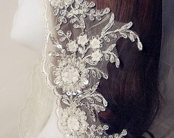 ivory beaded lace trim,alencon embroidery lace fabric trim, bridal veil sash lace trim,wedding veil trim