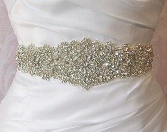 crystal beaded applique , rhinestone headband applique, bridal sash applique
