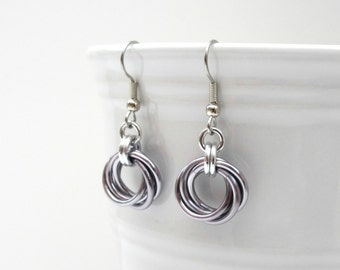 Gray Möbius flower chainmaille earrings, love knot