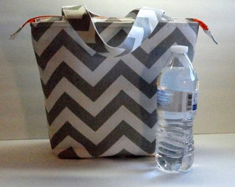 Insulated Lunch Bag, Adult Lunch Tote Bag, Womens Lunch Bag, Zipper Top, Inside Pockets, Made To Order, You Choose Colors