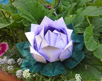 Two Origami Paper lotus flowers handmade to order. Choose your colors.